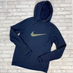 Nike Dri-Fit Navy Blue Hooded Sweatshirt Sz S
